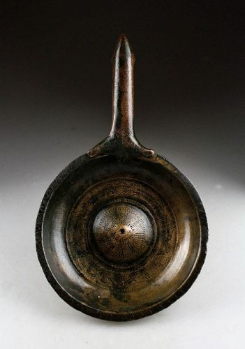 Rare early decorated Islamic bronze bowl w. handle, pre 16th. cent.!