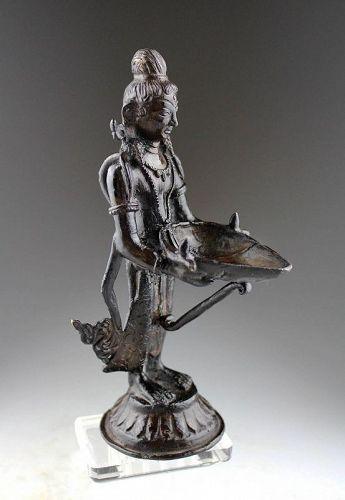 Rare Early18th C Indian Hindu Bronze Deepa lakshmi Oil Lamp