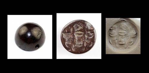 Interesting and rare Sassanian Hemaetite seal with three figures!