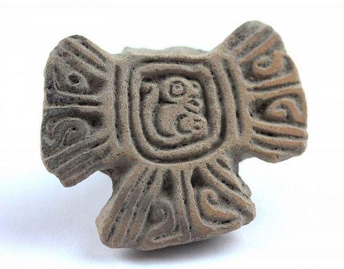 Large Pre-Columbian ceramic stamp seal, Jamacoaque, ca. 500 AD