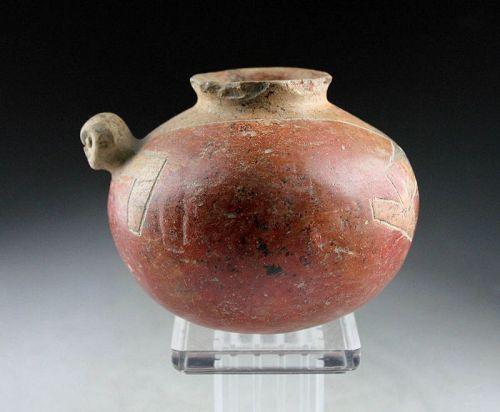 Rare ancient zoomorphic Pre-columbian Chorrera pottery jar