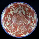 Rare large Islamic pottery bowl with Lady, Kashan, 11th.-12th. cent.