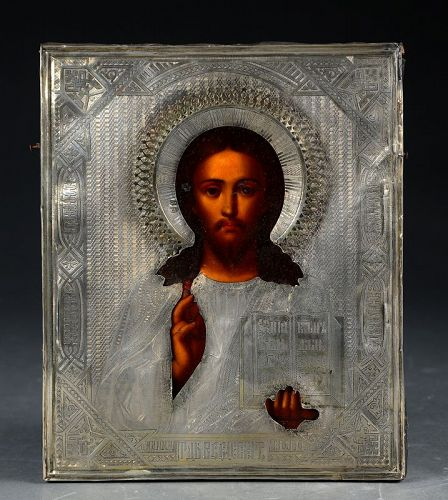 Exceptional 19th. century Russian Icon with elaborate silver Ritza!