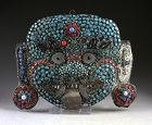 Rare antique Tibetan solid silver mask of Buddhist Guardian, 19th. c.