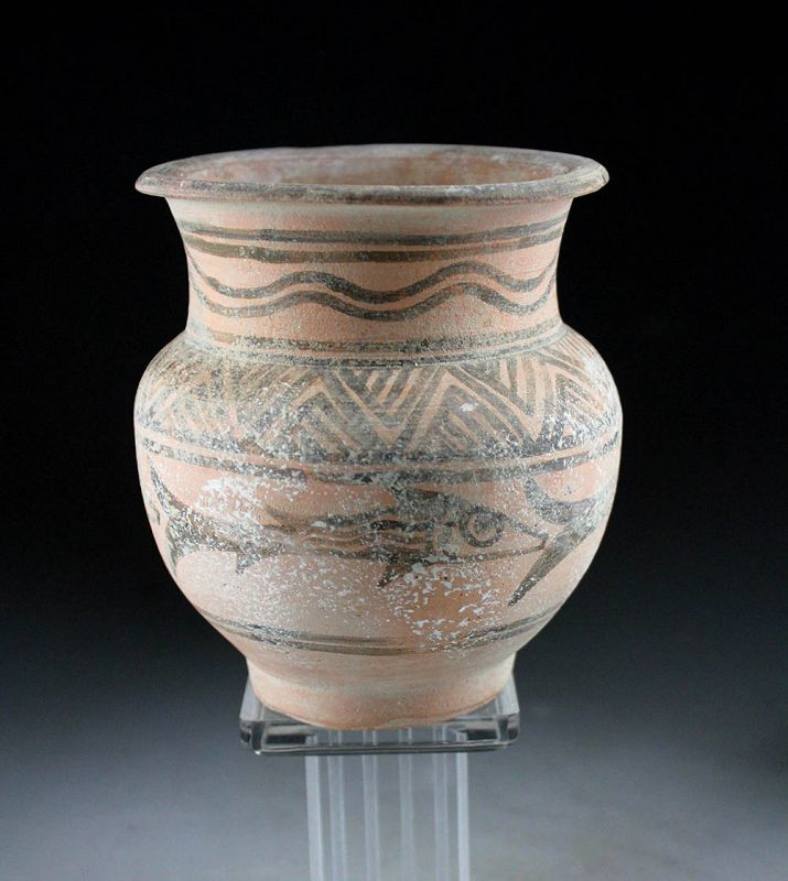 Wonderful Indus Valley pottery vase with fish, mid 3rd. mill BC