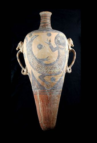 Extremely rare Chinese neolithic terracotta amphora w lizzard handles!