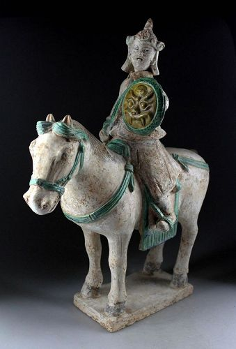 Massive tomb pottery figure mounted warrior, TL dated to Ming Dynasty