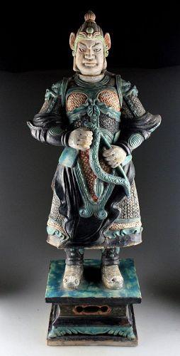 XXL Ming Dynasty Tomb pottery warrior w bow, 84 cm. w. TL test!