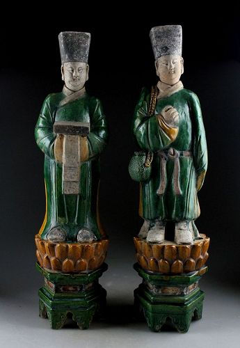 Pair of huge male Ming Dynasty pottery attendants on lotus throne w TL