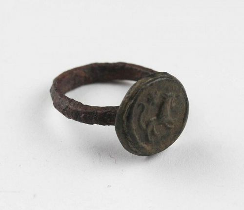 Choice Kushano-Sassanian bronze ring with Lion, 2nd.-4th. cent. AD