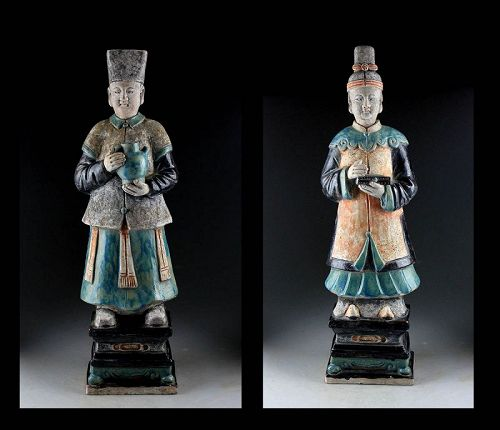 Museum Quality Ming Dynasty pottery figures of attendants w TL