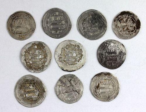 10 Umayyad silver Early Post Reform, Dirhams, 8th cent. AD, Nice VF!