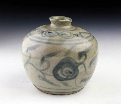 Thai / Sawankhalok Blue & White glazed pottery flask, 15th-16th cent.