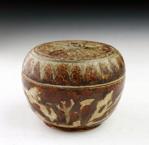 Thai / Sawankhalok Covered Stoneware Box, 14th-15th cent. AD