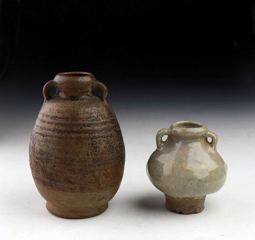 Pair of Thai / Sawankhalok glazed pottery Bottle Vases, 13th-15th cent