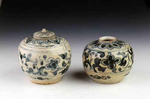 Pair of Thai / Sawankhalok Blue & White glazed pottery Bottles, c 1600