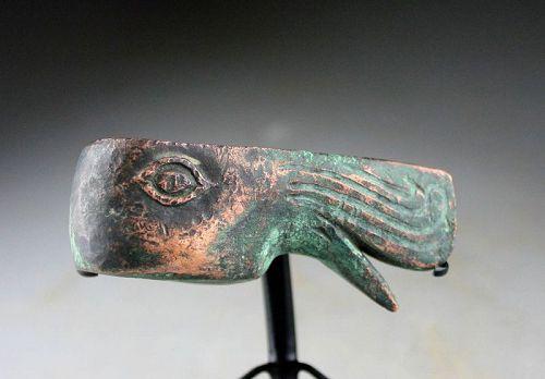 Rare Zoomorphic bronze battle axe, Caspian Steppes, ca. 1000 BC