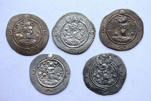5 hand-picked Sassanian silver drachms, different rulers, VF-EF