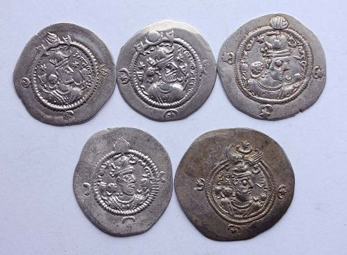 5 very attractive Sassanian silver drachms, different rulers, EF