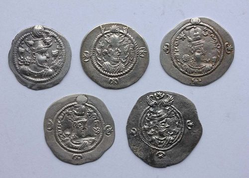 5 very attractive Sassanian silver drachms, different rulers, near EF