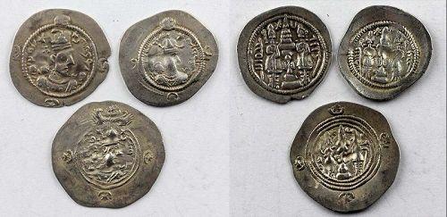 Choice lot of 3 Sasanian silver drachms, Khusro I & II, Hormatz, VF+