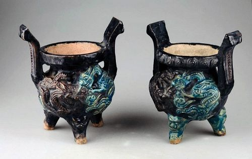 Pair of Early Ming Dynasty stoneware incense burners, w TL test!