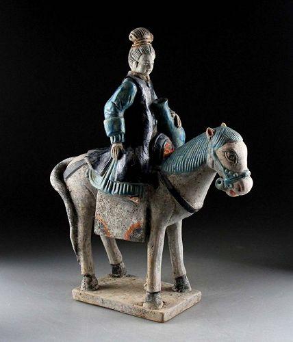 Female Pottery Attendant on Horseback, Ming Dynasty w TL test!