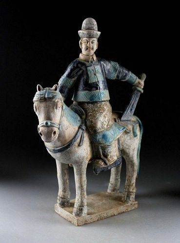 Ming Dynasty Mandarin armed officer tomb pottery Horseman w TL test!