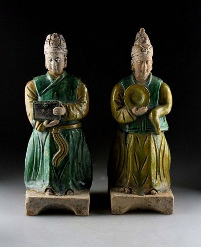 Pair of massive Tomb pottery attendants, Early Ming Dynasty w TL test!
