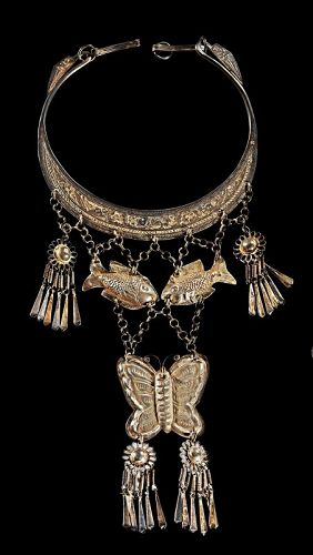 A large antique silver necklace, Hmong (Miao) culture
