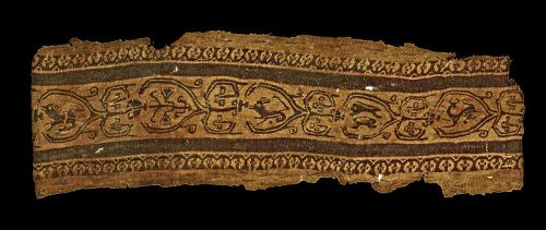 Late Roman Clavus textile w. Zoomorphic animals, 4th.-6th. cent.