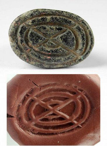 Large Mesopotamian Cruciform stamp seal, Uruk, 5th.-4th. mill. BC