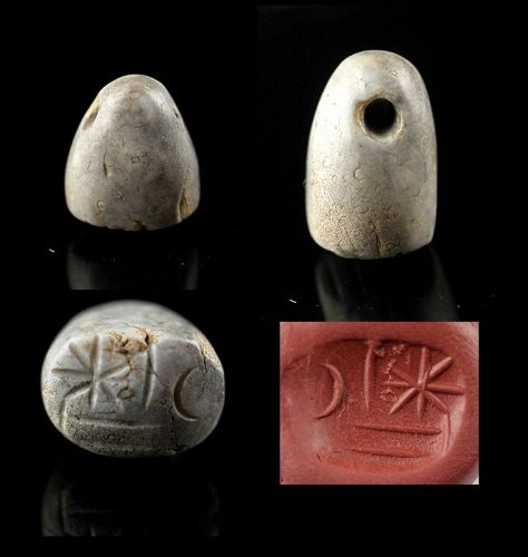 Choice Neo-Babylonian stamp seal in patinated Calchedony!