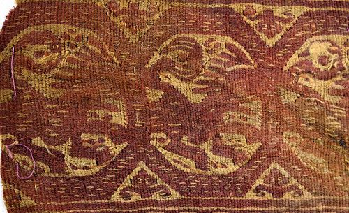 Early Islamic decorative textile with Lions, 7th.-9th. century AD.