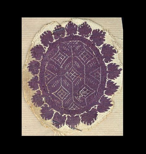 Beautiful purple Orbiculus Textile, Late Roman 4th.-6th. cent. AD