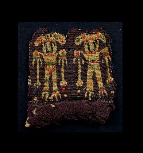 Fine figural textile of couple, Byzantine, 6th.-9th. century AD