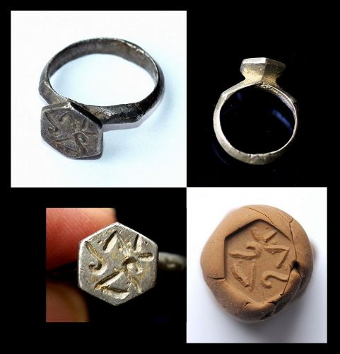 Early Byzantine silver seal ring w hexagonal bezel, 5th.-7th. cent