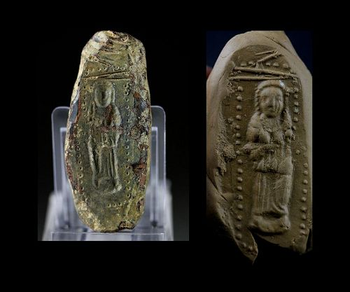 Very rare Lead mould for a female saint, Byzantine 7th.-10th. cent.