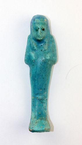 Egyptian Turquoise Glazed Shabti 19th-20th Dynasty, 1295-1077 BC