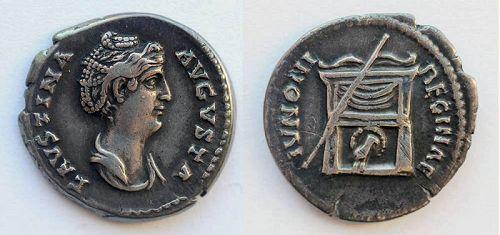 Roman coin: Lovely Diva Faustina portrait denarius, cabinet toning!