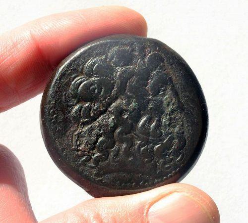 Choice Ptolemaic bronze drachm, Ptolemy IV, 73,8 grams!