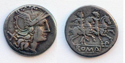 Rare Roman Repuplic anonymous silver denarius L PL H series!