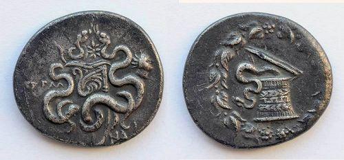 Rare Greek Cistophoric silver tetradrachm w bust Helios 166-67 BC