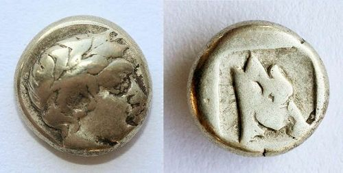 Rare Greece, Lesbos Mytilini gold silver electrum 1/6 stater (hekte)