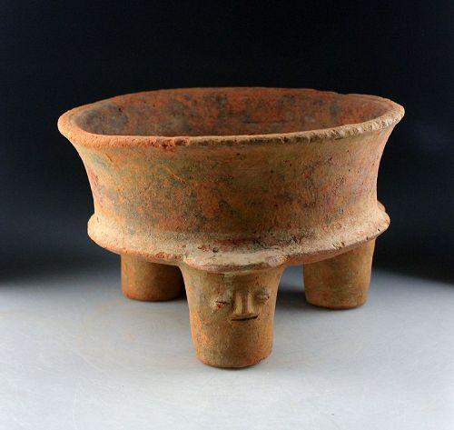Massive Pre-Columbian Maya Empire Ritual pottery tripod w faces!