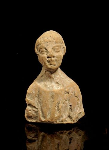 Rare Roman pottery bust of young noble in Toga, 1st. cent. AD