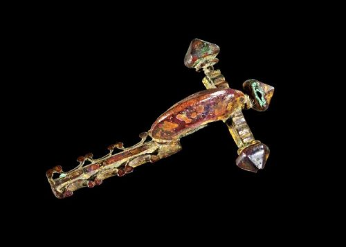 Superb quality Roman gilt bronze crossbow fibula, 7,7 cm. 3rd.-4th. c
