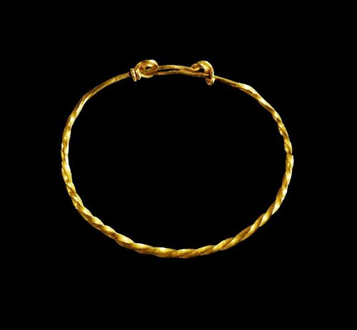Twisted gold bracelet ring, perhaps for a child, Roman 1st.-3rd. cent