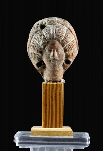 Large Roman pottery head of an important lady w extravagant hairstyle!