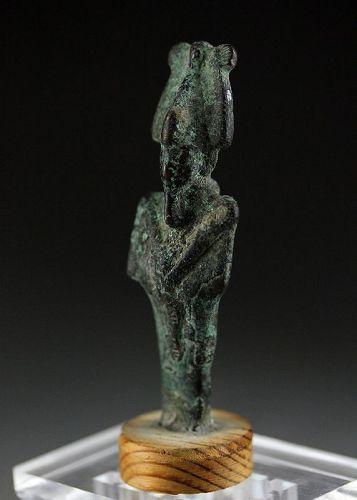 Nice Egyptian bronze figure of Osiris in mummy form, late period